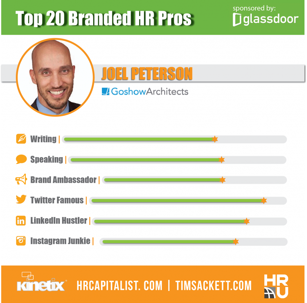 The Top 20 Branded HR and Talent Pros: Meet Joel Peterson from Goshow Architects