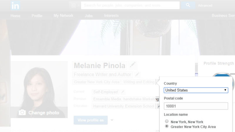 Change Your LinkedIn Profile Location to the Area You Want to Work In