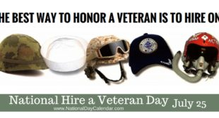 NATIONAL HIRE A VETERAN DAY – July 25 – National Day Calendar